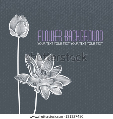 Vector: Modern abstract flower blue-gray background, with space for title text - stock vector