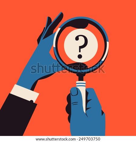 Vector modern abstract illustration on hand with magnifying glass | Web concept banner on research, study and puzzle solving - stock vector