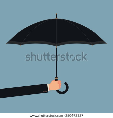 Vector modern abstract illustration on male businessman's hand holding black classic opened umbrella, isolated | Business concept background on protection
