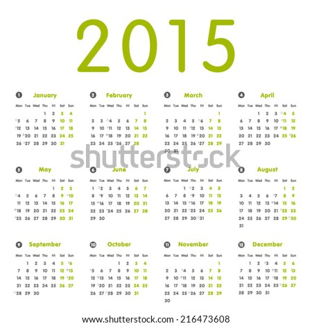 Vector modern and simple calendar 2015 with moon phases, well arranged, in green and grey.  Eps 10 vector file.  - stock vector
