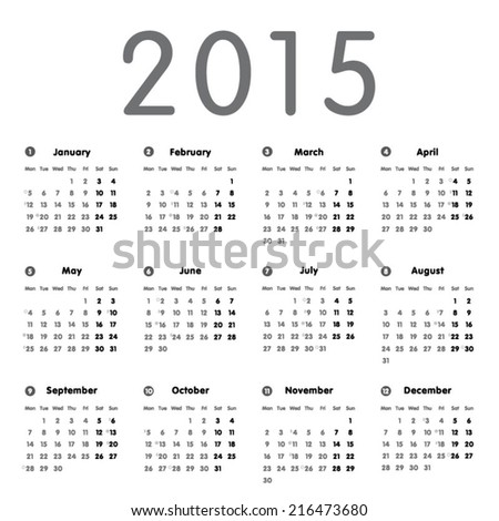 Vector modern and simple calendar 2015 with moon phases, well arranged, in grey.  Eps 10 vector file.  - stock vector