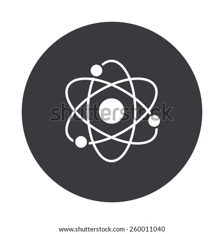 Vector modern atom gray circle icon on white background - stock vector
