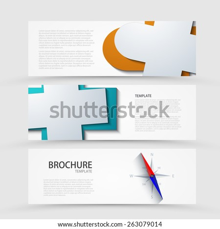 Vector modern banners set on gray background. Eps 10