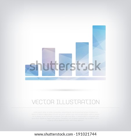 Vector modern blue stats infographic chart icon with colorful trendy and modern polygonal texture - stock vector