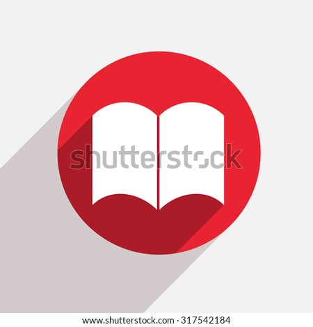 Vector modern book red circle icon with shadow - stock vector