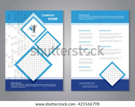 Vector modern brochure, abstract flyer, simple dotted design with squares for your photos. - stock vector