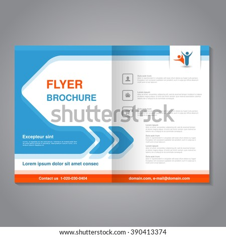 Vector modern brochure, abstract flyer with simple design. Layout template with arrow. Aspect Ratio for A4 size. Poster of blue, orange, grey and white color. Magazine cover with human symbol.  - stock vector