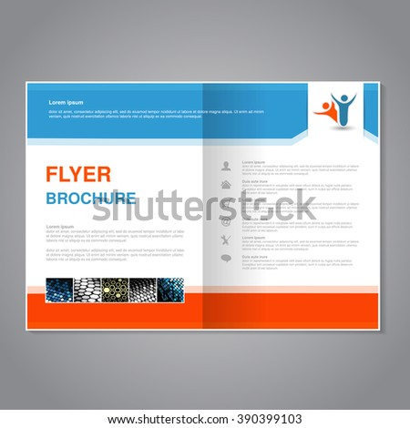 Vector modern brochure, abstract flyer with simple dotted design. Aspect Ratio for A4 size. Poster of blue, orange, grey, golden, silver and white color. Layout template, magazine cover.