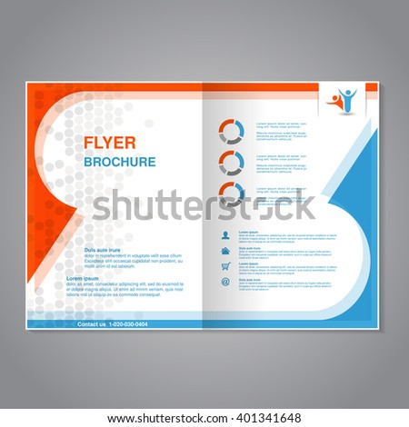 Vector modern brochure, abstract flyer with simple dotted design. Layout template. Aspect Ratio for A4 size. Poster of blue, orange, gray and white color. Magazine cover with human symbol. - stock vector