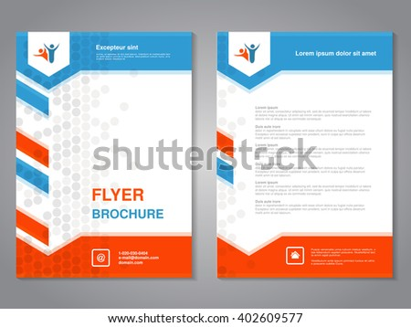 Vector modern brochure, abstract flyer with simple dotted design. Layout template with arrows. Aspect Ratio for A4 size. Poster of blue, orange, grey and white color. Magazine cover.