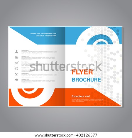 Vector modern brochure, abstract flyer with simple dotted design. Layout template with snail element. Aspect Ratio for A4 size. Poster of blue, orange, gray and white color. Magazine cover.