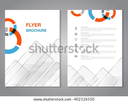 Vector modern brochure, abstract flyer with simple glass squared design. Layout template. Aspect Ratio for A4 size. Poster of blue, orange, grey and white color. Magazine cover.  - stock vector