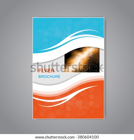 Vector modern brochure, abstract flyer with simple modern design. Aspect Ratio for A4 size. Poster of blue, grey, white and orange color. Layout template, magazine cover, book cover. - stock vector