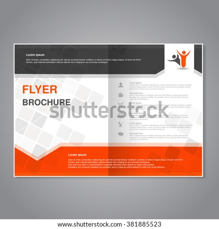 Vector modern brochure, abstract flyer with simple modern design. Aspect Ratio for A4 size. Poster of black, grey, white and orange color. Layout template, magazine cover.