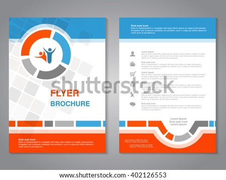 Vector modern brochure, abstract flyer with simple squared design. Layout template. Aspect Ratio for A4 size. Poster of blue, orange, gray and white color. Magazine cover with human symbol.