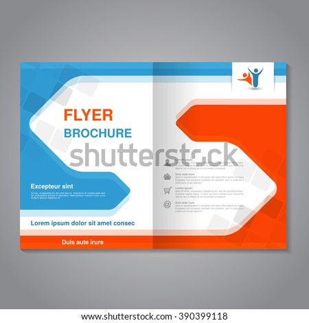 Vector modern brochure, abstract flyer with simple squared design. Layout template with arrows. Aspect Ratio for A4 size. Poster of blue, orange, grey and white color. Magazine cover.  - stock vector