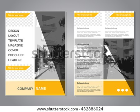 Vector modern brochure with triangle design, flyer with background of monochrome city street. Layout template. Aspect Ratio for A4 size. Poster of yellow, grey, black and white color. Magazine cover.
