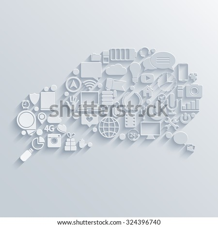 Vector modern bubble speech icons set. Chat communication background - stock vector