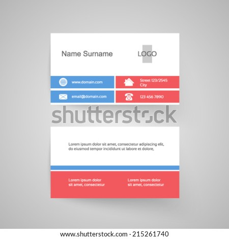 Vector modern business card, white, pink, blue, simple template - stock vector