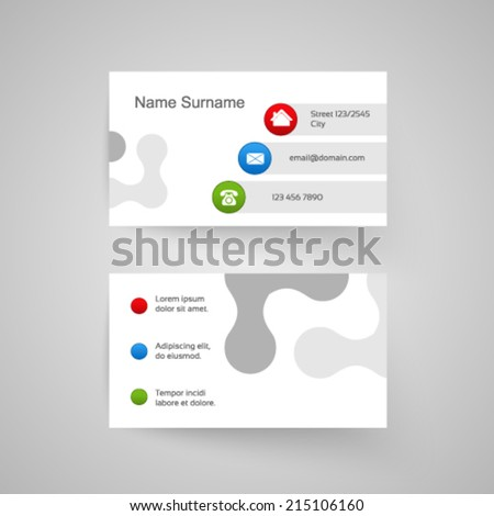 Vector modern business card, white simple template - stock vector