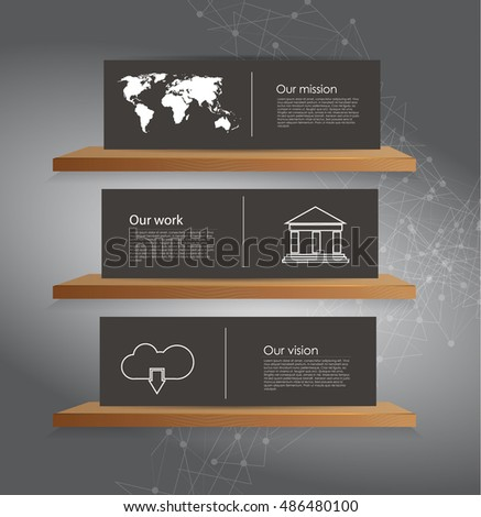 Vector modern business infographics with cube bubbles / mission, vision, future and strategy motive or theme on dark background