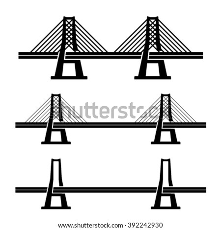 vector modern cable suspension bridge black symbol - stock vector