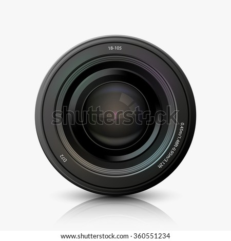 Vector modern camera icon on white background - stock vector