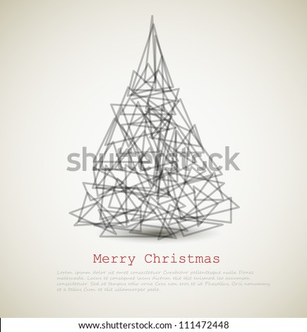 Vector modern card with abstract christmas tree on a light background - stock vector