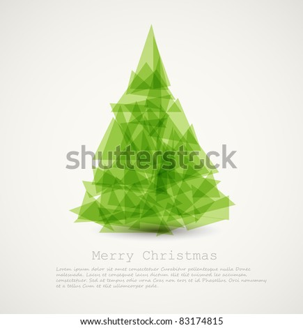Vector modern card with abstract green christmas tree - stock vector