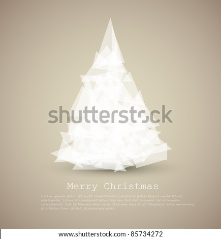 Vector modern card with abstract green christmas tree on a light background - stock vector