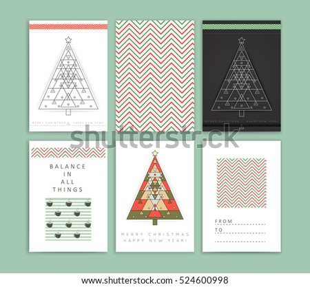 Vector modern card with abstract linear geometry Christmas tree. Merry Christmas and happy new year holiday greeting card. Line style