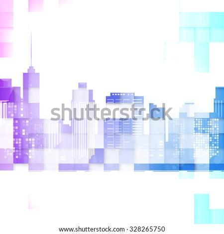 Vector modern city. Cityscape background for your design, urban art. Buildings - stock vector
