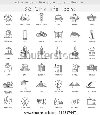 Vector Modern City life ultra modern outline line icons for web and apps.