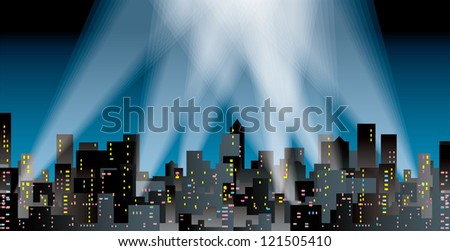 vector modern city silhouette with spotlights - stock vector