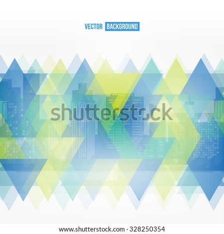 Vector modern city. Stained-glass window. Cityscape background for your design, urban art. Buildings - stock vector