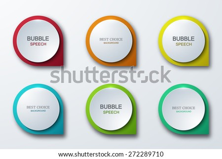 Vector modern colorful bubble speech icons set on gray background - stock vector