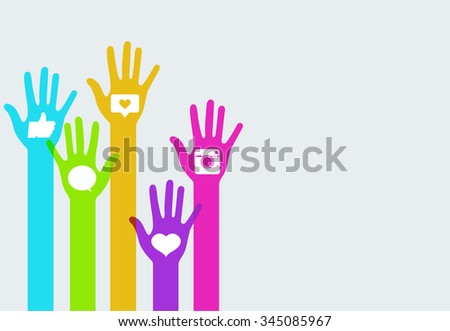 Vector modern colorful hands social network infographics background. Creative template