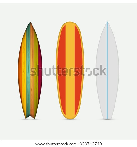 Vector modern colorful surfboard set on white background - stock vector