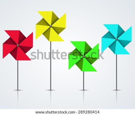 Vector modern colorful windmill set on light background - stock vector