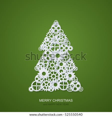Vector modern concept christmas tree and mechanism gears background. Invitation of xmas or happy new year