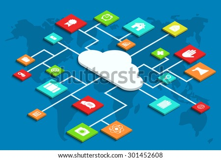 Vector modern concept 3d isometric computer cloud infographic with app - stock vector