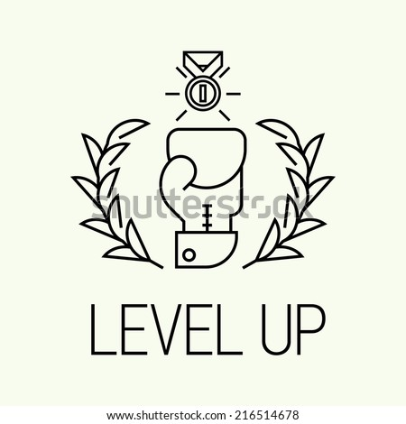 Vector modern concept design on level up | Trendy level up minimalistic icon  - stock vector