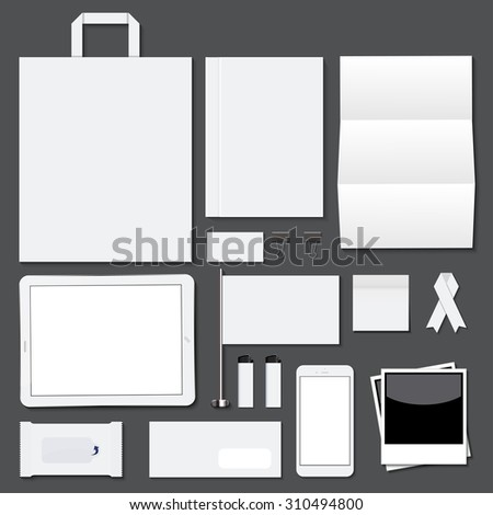 Vector modern corporate identity template big set on dark background - stock vector