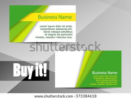 Vector modern creative and clean business card template. Flat design. Letter Logo Corporate Business card. Business card set template. Green color. Vector illustration - stock vector