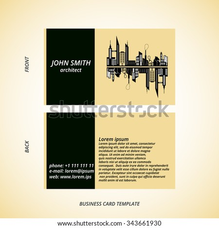 Vector modern creative business card template stock vector 343661930 vector modern creative business card template for architect professional business card architecture business card reheart Images