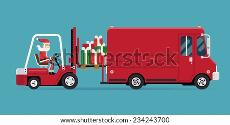 Vector modern creative concept design on christmas gifts delivery and shipment | Cartoon character Santa Claus loading a pile of gift boxes into red delivery truck, side view - stock vector