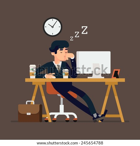 Vector modern creative flat design illustration on tired businessman at work | Exhausted office worker sleeping on his desk | Creative concept illustration on coffee addicted person sleeping at work - stock vector