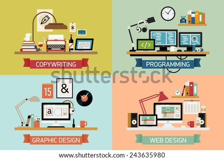 Vector modern creative flat design illustration set on graphic design, programming and developing, copywriting and editing, web design | Different office tables and work spaces  - stock vector