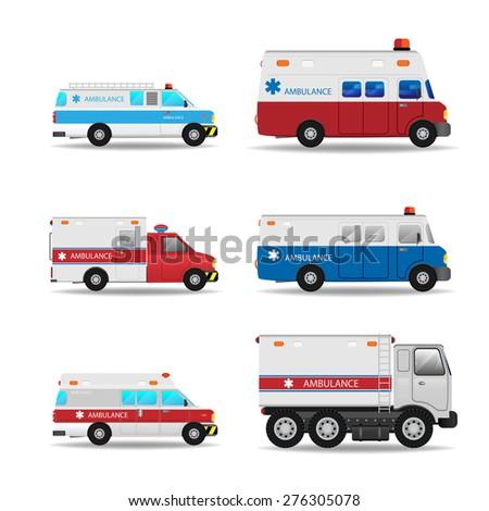 Vector modern creative flat design logistics fleet vehicles set featuring Ambulance - stock vector