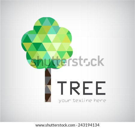 vector modern crystal tree logo, eco organic icon isolated - stock vector